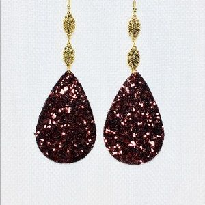 Dark Brown Sparkle Faux Leather Earrings.